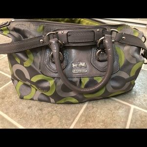 Gray and lime fabric COACH purse